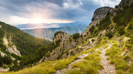 kotor: Panoramic landscape of mountain ridge and Kotor bay. Lovcen National Park. Montenegro. View from the top of the mountain.