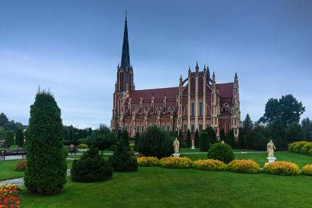 gothic revival: Panoramic view of Holy Trinity catholic church. Gervyaty. Grodno region. Belarus.