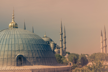 View of the famous Blue Mosque (Sultanahmet Camii). Istanbul. Turkey.Old photo style.