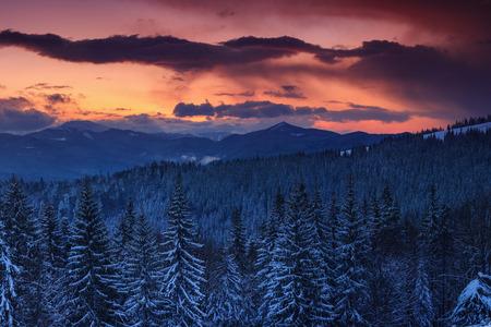 Vista panorámica de la espectacular puesta de sol en las montañas de invierno. Colinas boscosas cubiertas de nieve, niebla saliendo de los valles, cielo nublado colorido: esta es una imagen impresionante. Foto de archivo - 91553269