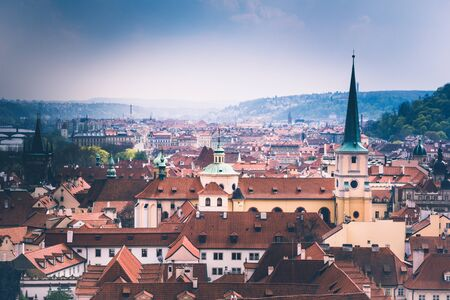 Panoramic view of Prague roofs and domes. Czech Republic. Europe.