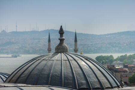 Ottoman architecture. Roofs of Istanbul. Suleymaniye Mosque. Turkey. Selective focus. Stock fotó