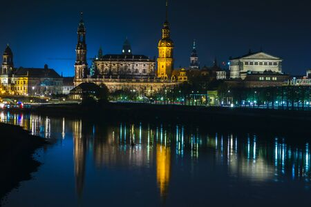 It is a charm, towers and buildings. Elbe river. Germany. Saxony.
