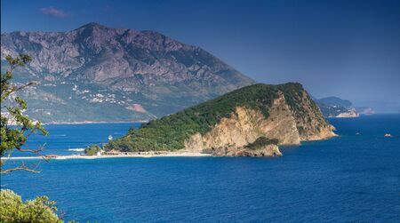 Panoramic landscape of Sveti Nikola island and budva riviera. Montenegro, Adriatic sea, Europe.
