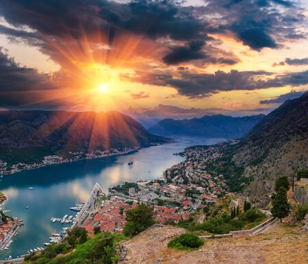 Panoramic landscape Kotor bay in Montenegro at sunset. Dramatic evening light. Balkans, Adriatic sea, Europe. View from the top of the mountain. Reklamní fotografie