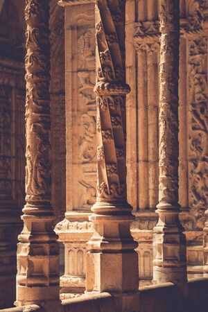 Beautiful reticulated vaulting and columns of Hieronymites Monastery. Manueline architecture style. Famous Lisbon landmark in Belem district. Portugal. Vintage effect.