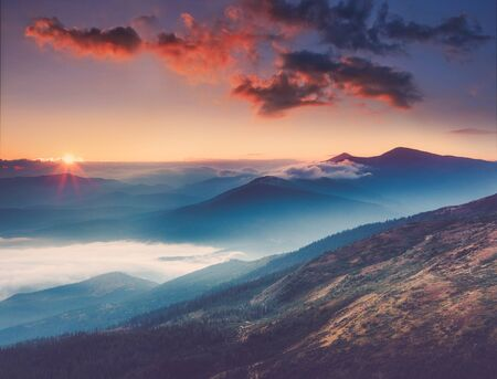Amazing landscape in the mountains at sunrise. View of foggy hills covered by forest. Concept of the awakening wildlife, romance, emotional experience in your soul, joy in mundane life.