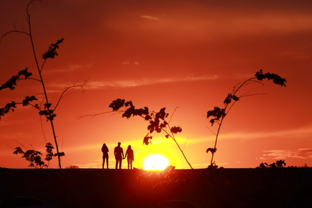 red sunset: Family on a background of red sunset Stock Photo