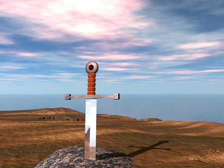 hilt: King Arthurs Excalibur embedded in the stone.