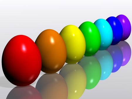 A collection of colorful Easter eggs. 3D rendering. photo