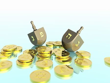 Hanukkah celebration. Dreidel. Jewish tradition. 3D rendering. Stock Photo