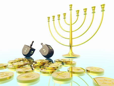 shalom: Hanukkah celebration. Dreidel. Jewish tradition. 3D rendering. Stock Photo