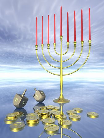 jews: Hanukkah celebration. Dreidel. Jewish tradition. 3D rendering. Stock Photo