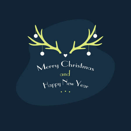 Christmas Gift Card Horns - Happe New Year. Vector Stock Illustration