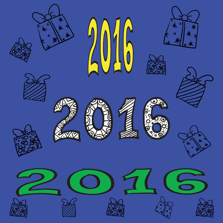 figural: Vector illustration - hand-drawn gifts with bows and inscriptions 2016 on a blue background. Happy New Year. Illustration