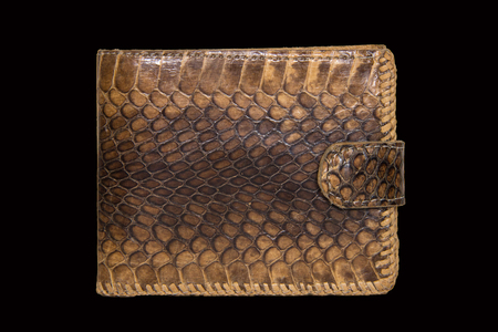 clincher: Brown purse made of snake skin on a black background Stock Photo
