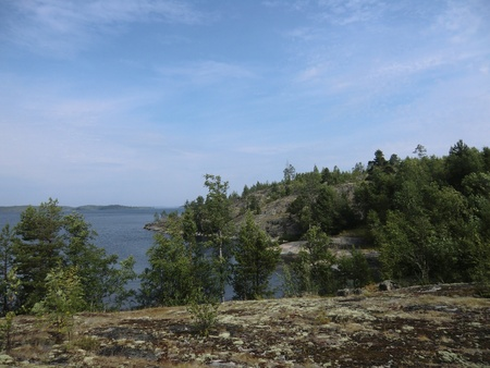 The islands of Ladoga lake covered with a moss photo