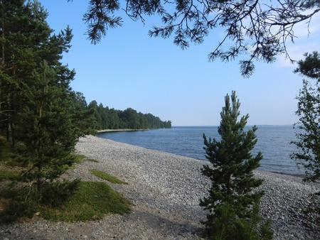 Beach of island of Ladoga lake Stock Photo - 10610614