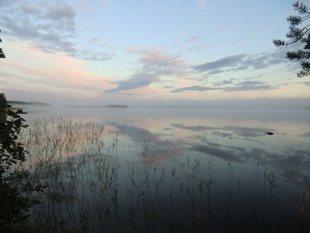 Sunrise over lake on the river Keret in Karelia photo