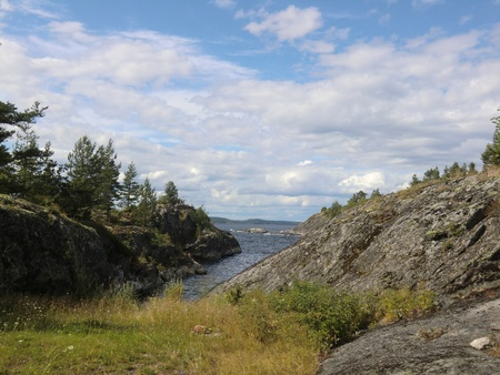 Bay on one of islands of Ladoga lake photo