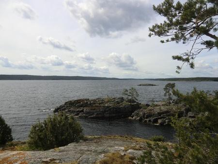 Islands in a gulf of Ladoga lake photo