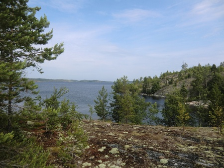 Kind from island covered with a moss to Ladoga lake photo