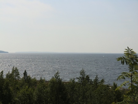Kind from island to Ladoga lake photo