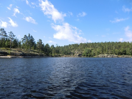Kind from water on islands of Ladoga lake photo