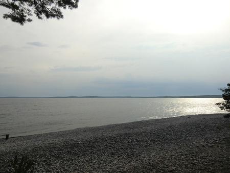 Sunset over Ladoga lake photo