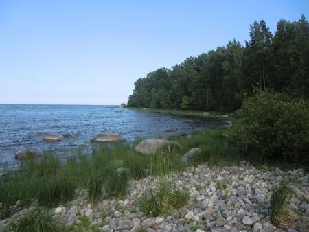 Coast of one of islands of Ladoga lake photo