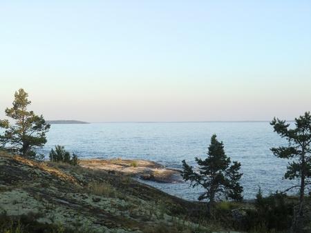 Sunset on Ladlzhsky lake photo