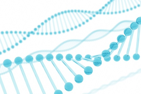 double helix: DNA blue glass Stock Photo