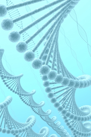 DNA on blue background photo