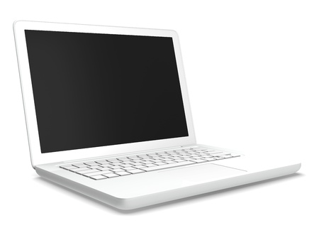 a white laptop computer