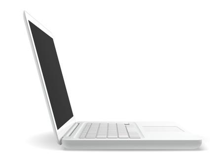 a white laptop computer