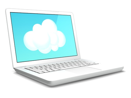 a white laptop computer and an icon of cloud Stock Photo