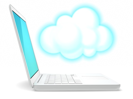 a white laptop computer and an icon of cloud Standard-Bild