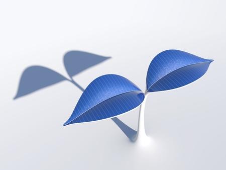 太陽電池パネルと植物
