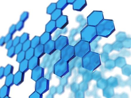 blue transparent hexagons