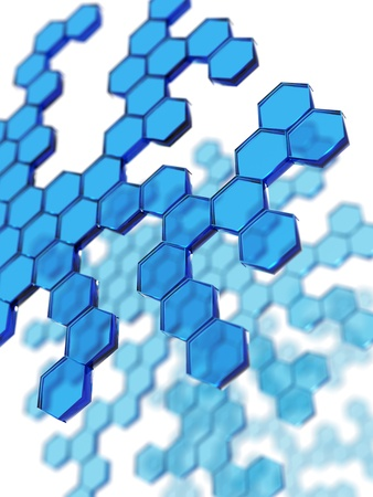 blue transparent hexagons