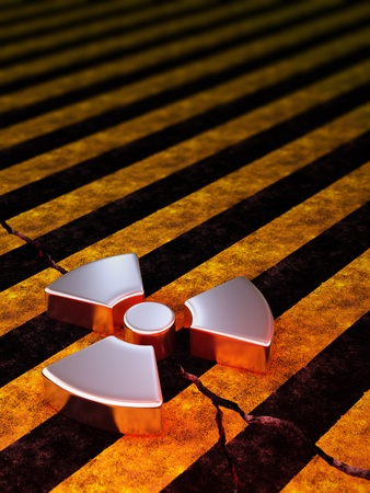 radio active: radioactive sign on cracked stripe concrete Stock Photo