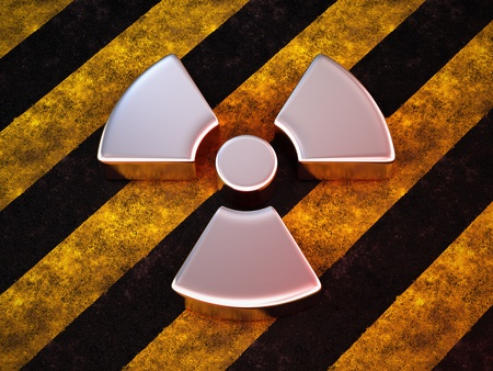 radioactivity danger logo: radioactive logo on stripe concrete Stock Photo