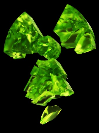 radiactividad: logotipo de la radiactividad del uranio de vidrio