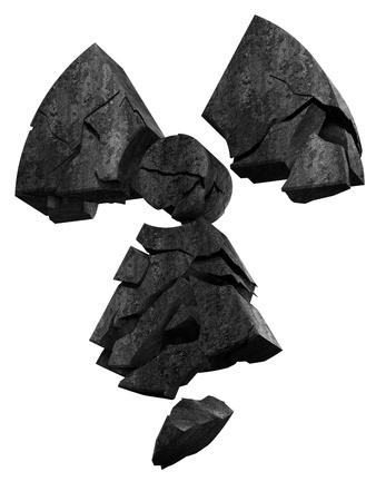 石で作られた崩壊の放射能のロゴ 写真素材