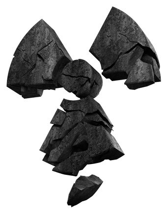 radio active: collapsing radioactivity logo made of stone