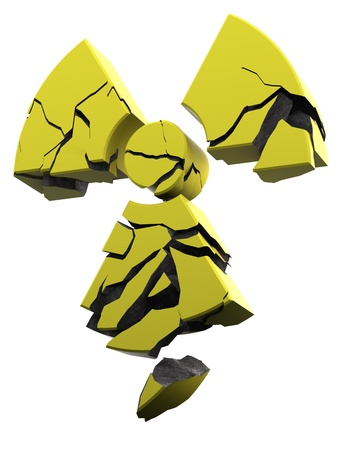 coated: collapsing radioactivity logo made of yellow coated concrete