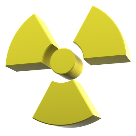 coated: radioactivity logo made of yellow coated material