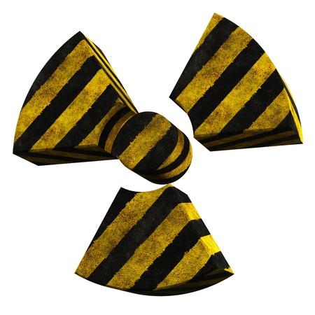 radiactividad: logotipo de la radiactividad hecha de hormig�n pintado rayas