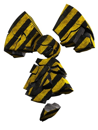 radioactivity danger logo: collapsing radioactivity logo made of stripe painted concrete Stock Photo
