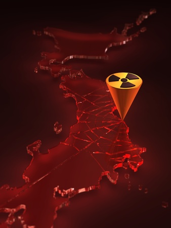 3D rendering of radioactivity logo shattering japan Stock Photo - 11348872